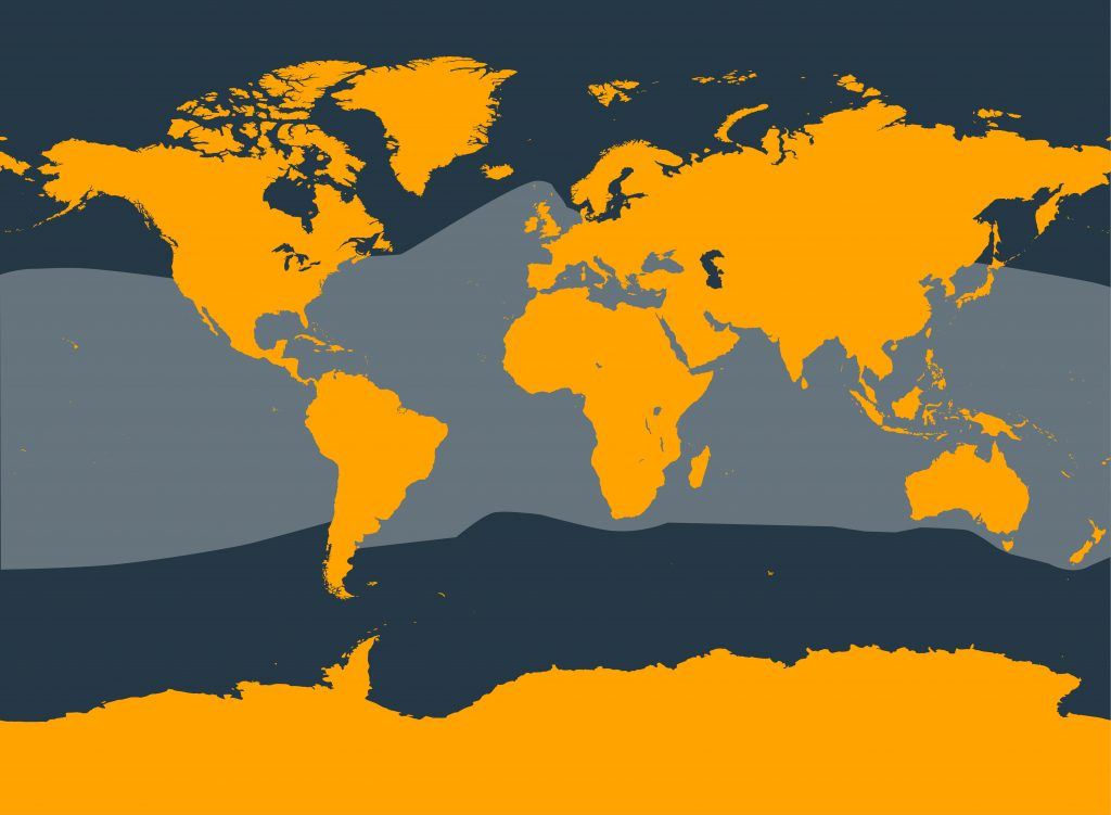 Map showing range of common bottlenose dolphins
